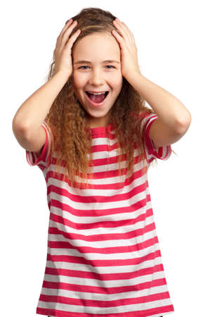 Portrait of surprised girl isolated on white background