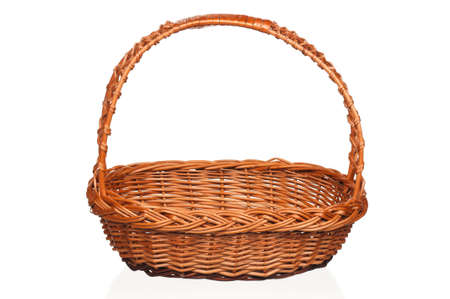Empty wicker basket isolated on white background Stock Photo - 12833504