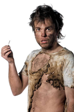 electrocute: Portrait of burnt man with match over white background Stock Photo