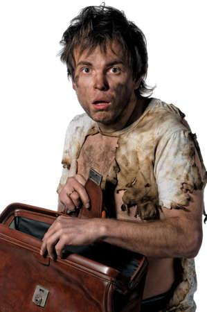 messy office: Portrait of homeless burnt man over white background