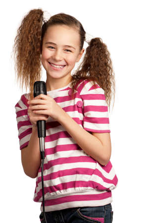 vocalist: Portrait of girl singing with microphone isolated on white background