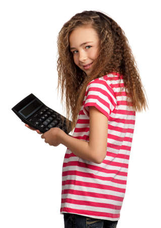 guile: Portrait of happy girl with calculator isolated on white background Stock Photo