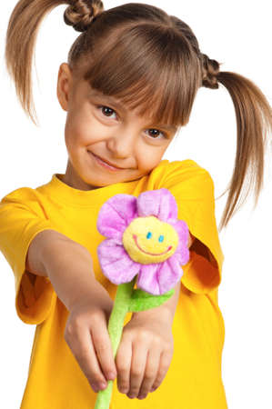 Portrait of happy little girl with flower isolated on white background Stock Photo - 13103717