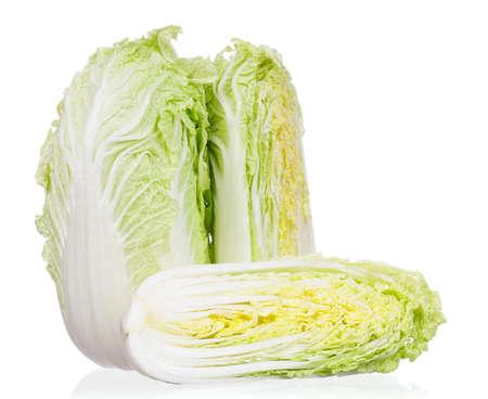 half stuff: Fresh Chinese cabbage vegetable on white background Stock Photo