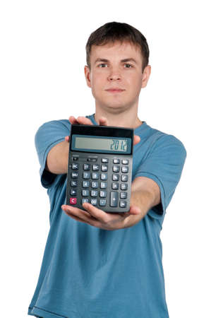 guile: Portrait of man with calculator on isolated white background