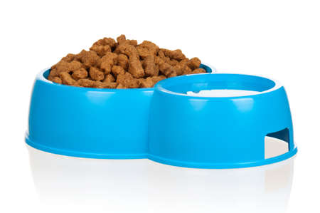 Dog food in bowl isolated on a white background photo