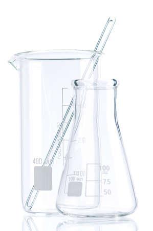 inorganic: Laboratory glassware for liquids on white background Stock Photo