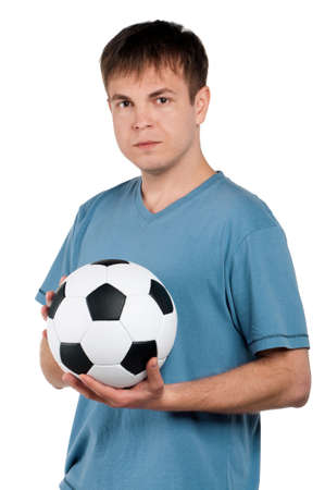 Portrait of a man standing with classic soccer ball on isolated white background Stock Photo - 13145429