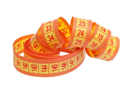 Measuring tape of the tailor over white background Stock Photo - 13144742