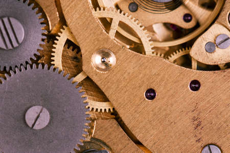 rackwheel: Close-up of mechanism of old watch Stock Photo