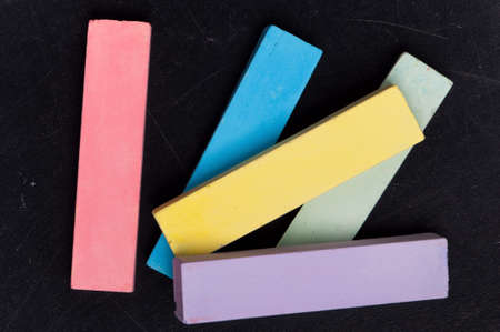 Empty blank black chalkboard with colorful chalk Stock Photo - 13221502