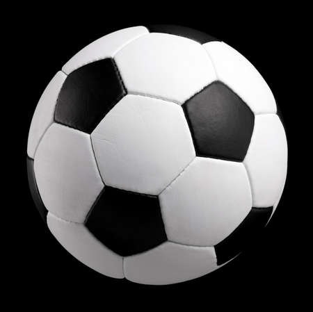 Classic soccer ball - isolated on black background photo