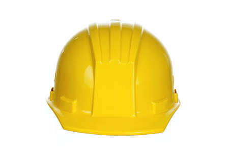 Yellow safety hard hat on white background Stock Photo