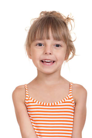 Portrait of emotionally kid  Funny little girl isolated on white background  Beautiful caucasian model  Stock Photo - 13221414