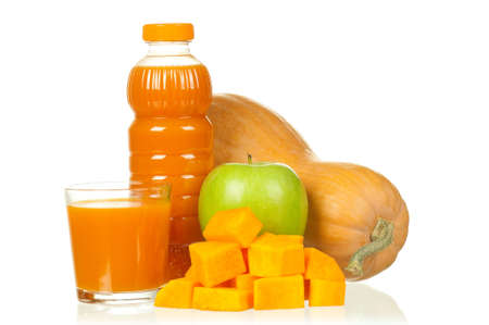 Fresh pumpkin and apple juice isolated on white background photo