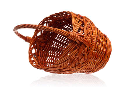 Empty wicker basket isolated on white background Stock Photo - 13221355