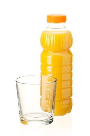 Orange juice in plastic bottle and glass on white background Stock Photo - 13433168