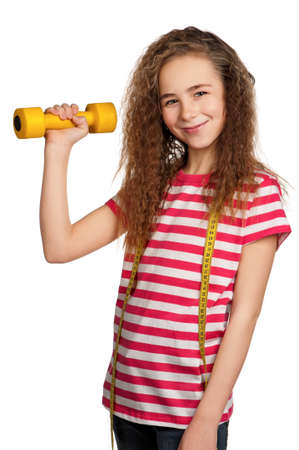 Portrait of girl with dumbbells isolated on white background Stock Photo - 13434198