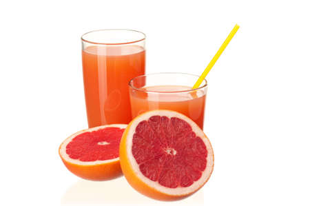Glass of fresh grapefruit juice and grapefruit fruits on white background photo