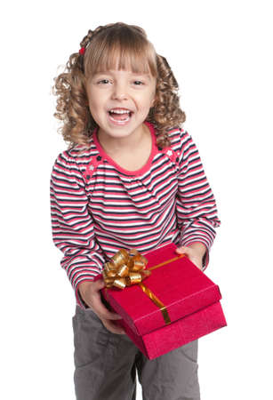 Portrait of happy little girl with gift box over white background Stock Photo - 13434197
