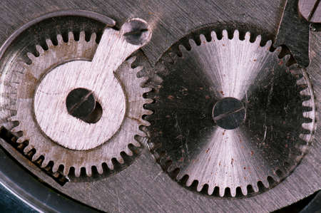 Close-up of mechanism of old watch  Photo macro  photo