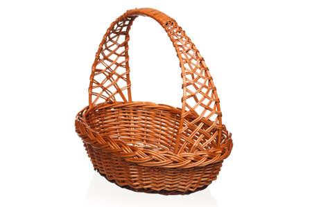 Empty wicker basket isolated on white background Stock Photo - 13433895
