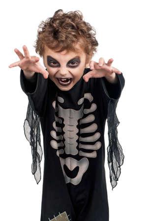 antichrist: Portrait of little boy wearing halloween costume on white background
