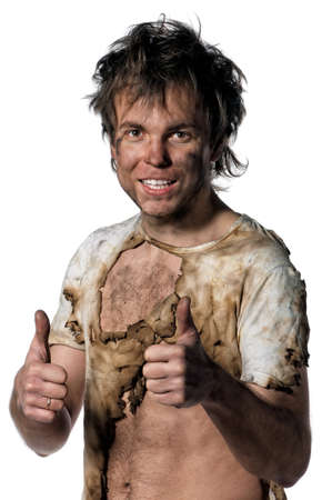 electrocute: Portrait of burnt man over white background Stock Photo
