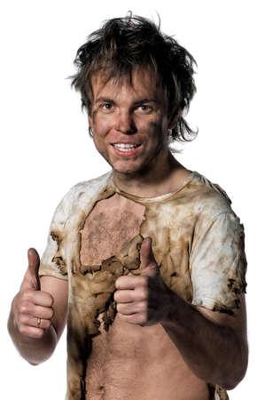 Portret van de verbrande man op een witte achtergrond