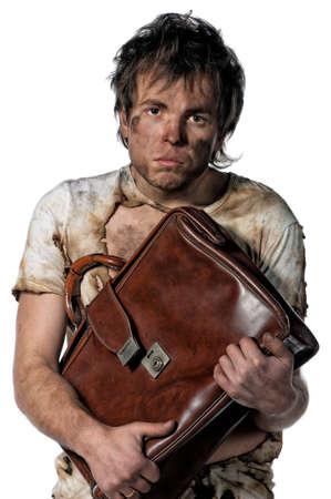 Portrait of homeless burnt man over white background Stock Photo - 14736043