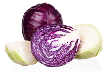 Fresh green and red cabbage vegetable on white background