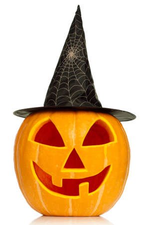Funny Halloween pumpkin with black hat isolated on white background Stock Photo - 14763215