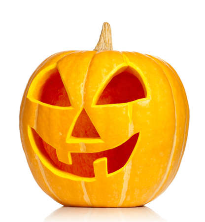 Funny Halloween pumpkin isolated on white background photo
