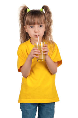 Portrait of happy little girl with glass of fresh juice with straw over white background Stock Photo - 14735955