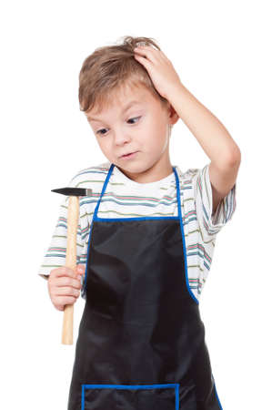 Little boy with tools - isolated on white background photo