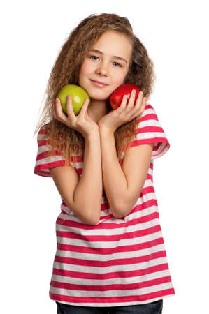 Portrait of happy girl with apples isolated on white background photo