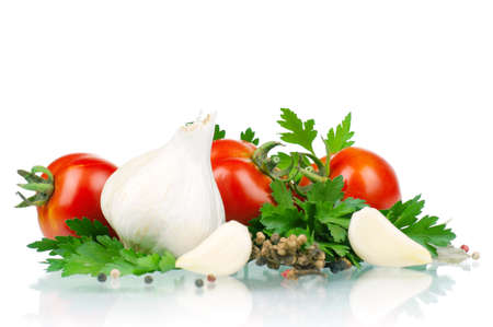 Fresh vegetables on white background - tomato, parsley, garlic, pepper photo