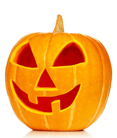 Funny Halloween pumpkin isolated on white background