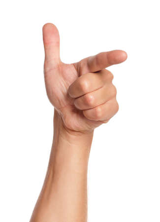 Man hand sign isolated on white background photo