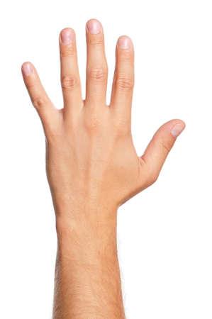 male arm: La mano del hombre signo aislado sobre fondo blanco