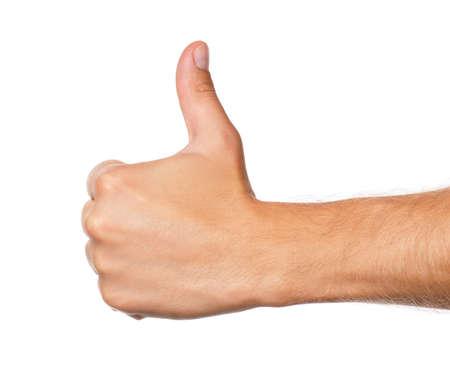 La mano del hombre signo aislado sobre fondo blanco