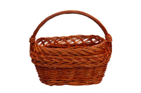 Empty wicker basket isolated on white background Stock Photo - 14765153
