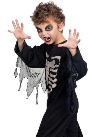 haunt: Portrait of little boy wearing halloween costume on white background