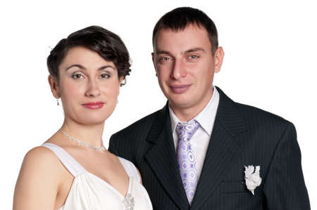20 25: Portrait of happy bride and groom on white background