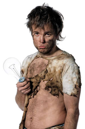 electrifying: Portrait of funny electrician over white background Stock Photo