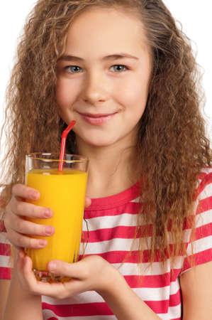 Portrait of happy girl with orange juice isolated on white background Stock Photo - 15287480