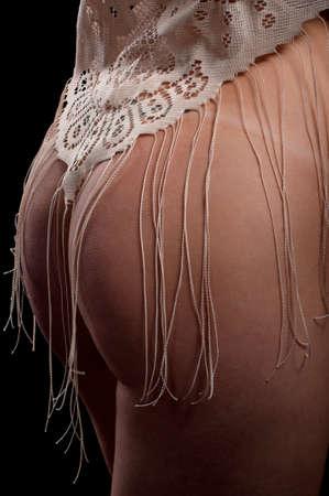 Half body shot of sexy woman on black background Stock Photo