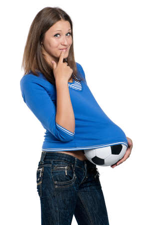 Beautiful teen girl with classic soccer ball posing on white background Stock Photo - 15287204