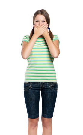 Speak no evil - portrait of teen girl isolated on white background photo