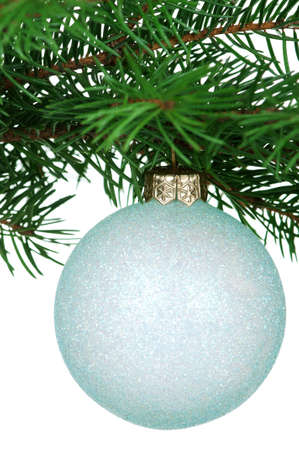 Small bauble on green christmas firtree on white background photo